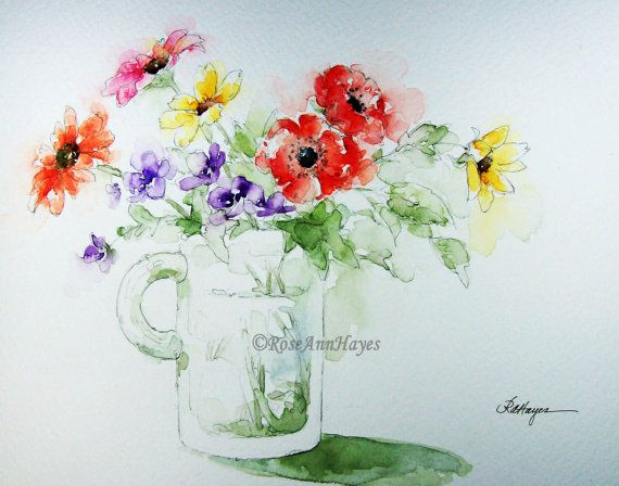 "This is a high quality open edition print of a watercolor painting of a bouquet of colorful flowers in a glass mug. The print measures 5"" x 7"", and"