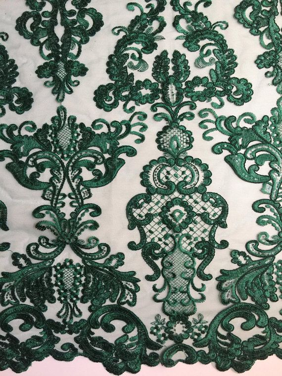 """Sold by the yard Green Floral Mesh w// Embroidery Hand Beaded Lace Fabric 52/"""""""