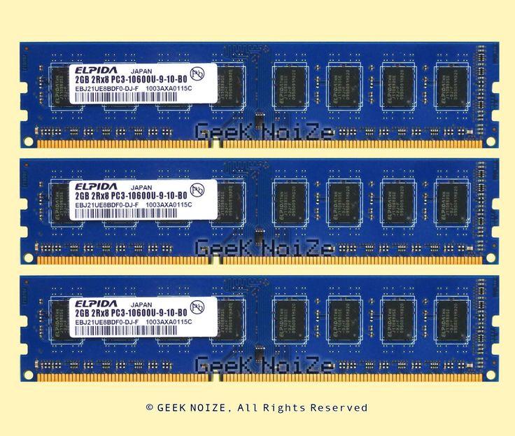Elpida Desktop RAM 6GB 3x 2GB PC3-10600U DDR3 1333 NonECC Unbuffered Memory LOT