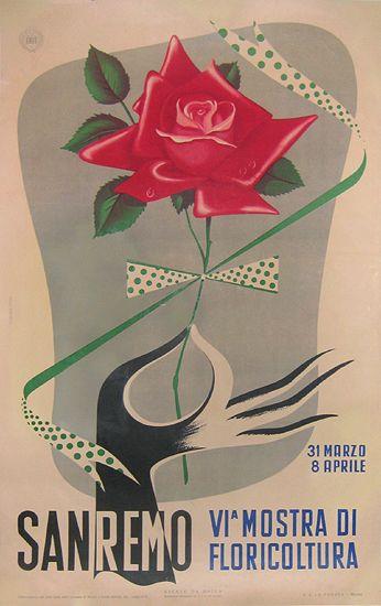 Sanremo VI Mostra di Floricoltura vintage poster