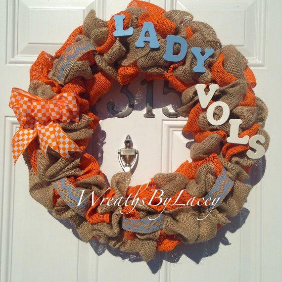 UT Lady Vols Burlap Wreath Tennessee Volunteers by WreathsByLacey