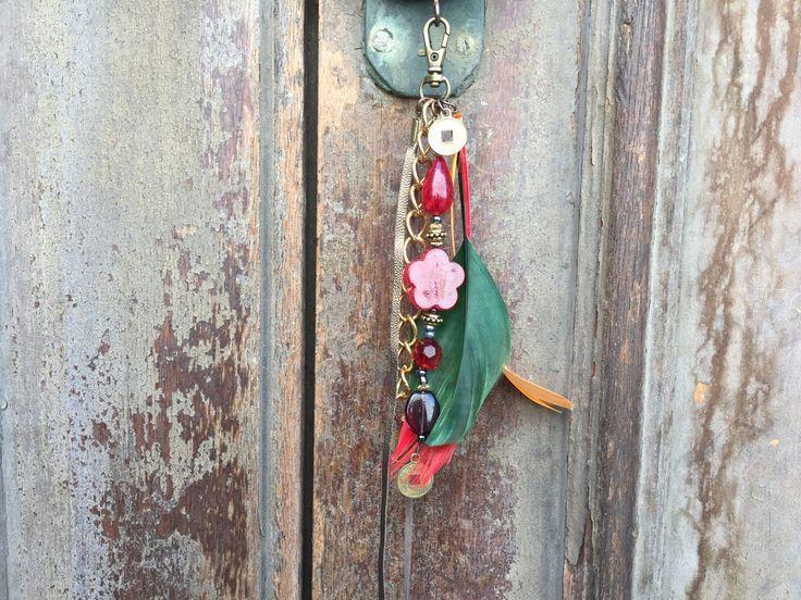 Boho feather charm /key chain boho /Beach bag charm / gypsy beach bag charm / Bohemian tassel jewelry /gift key chain/ key chain boho tassel by BelaCiganaBags on Etsy