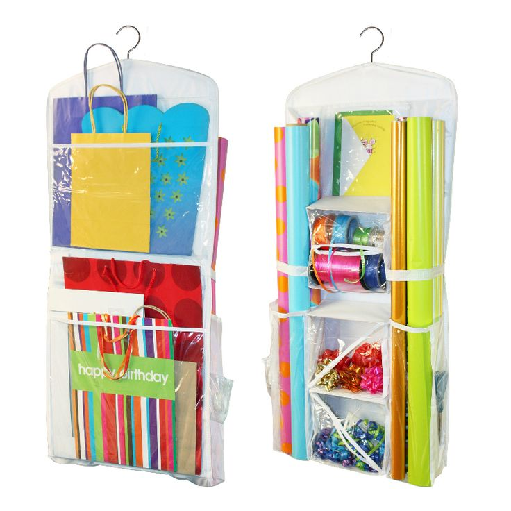 Store up to 12 rolls of your favorite wrapping paper, bows, cards, scissors, tapes, in the gift wrap organiser. The gift wrap organiser hanging organiser.