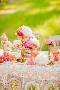 Coral centerpiece #wedding #centerpiece #tablescape #inspiration #details #decor #coral #brass #flower #peach