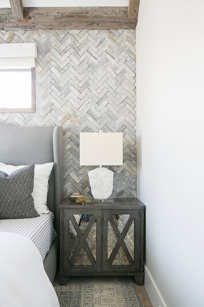 Nightstand. Beautiful gray nightstands fitted with antiqued mirrored doors. Patterson Custom Homes