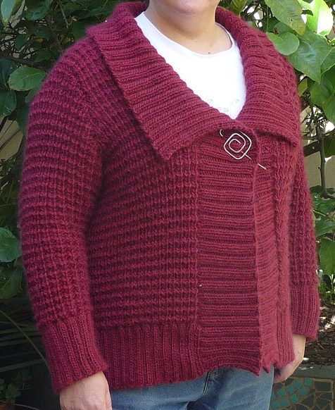 Free Knitting Pattern for Mayer Cardigan - A cozy fall jacket with an wide shawl collar knit with waffle textured stitch. Sizes XS-2X. Aran weight yarn. Designed by Norah Gaughan. Pictured project byyarnhound in L
