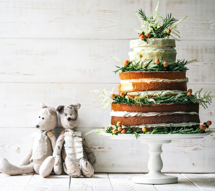 Свадебные торты с открытыми коржами. Эко-стиль. Натуральность. Wedding naked cake with Natural Elements