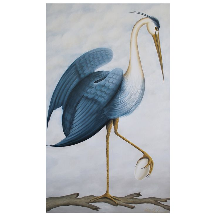 Original Venetian oil/gesso painting from the blue heron series. Sky blue background with shades of blue, white and brown. Made by artists famous for the splendid Venetian Palazzo's walls. Hand painted and original, variations in color tones may occur.  U