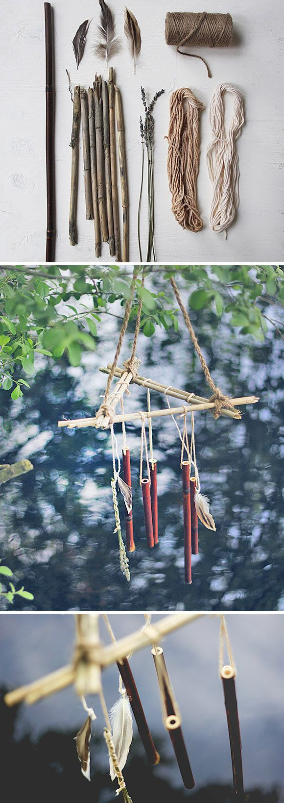 13 Crafty DIY Wind Chimes • Lots of Ideas and Tutorials! Including from 'free people', these cool bamboo wind chimes.