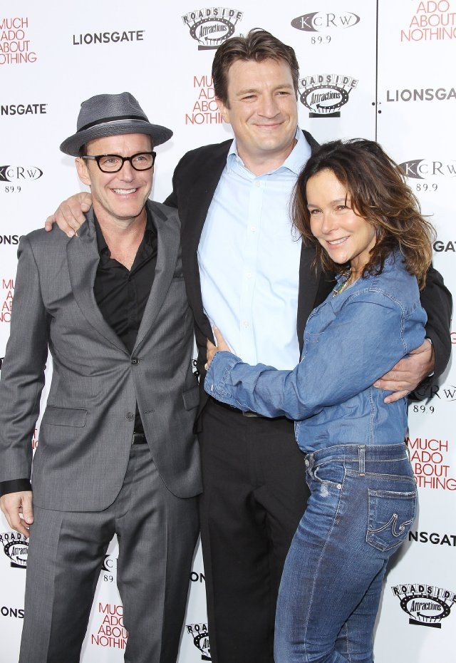 Jennifer Grey, Clark Gregg and Nathan Fillion at event of Much Ado About Nothing