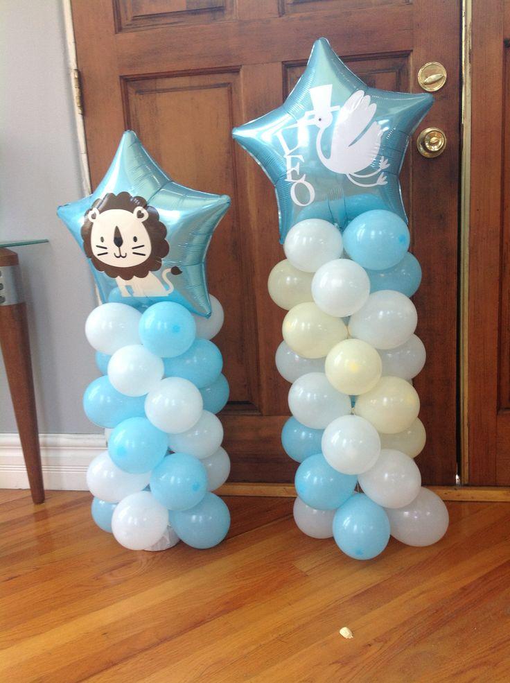 "Baby shower ""Leo"" theme party. Ballon columns ."