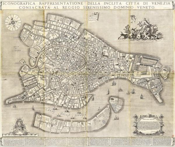 Plan de Venise - 18e siècle Iconografica rappresentatione della Inclita Citta di Venezia consacrata al Reggio Serenissimo Dominio Veneto Lodovico Ughi (16..-17..), vers 1729. BnF