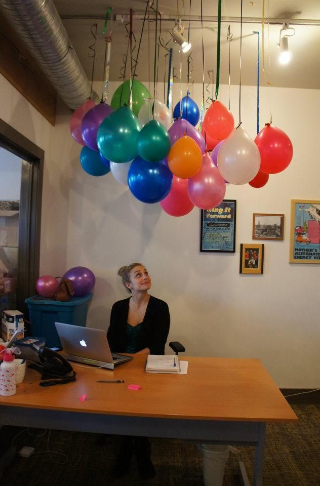 Office birthday idea....love it.  Of course I would put confetti in them...need I say more.  :)