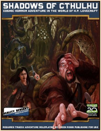Shadows of Cthulhu | Book cover and interior art for Call of Cthulhu Roleplaying Game - CoC, Basic Role-Playing System, BRP, The Card Game, TCG, Miskatonic University, H. P. Lovecraft, fantasy, horror, Role Playing Game, RPG, Chaosium Inc. | Create your own roleplaying game books w/ RPG Bard: www.rpgbard.com | Not Trusty Sword art: click artwork for source
