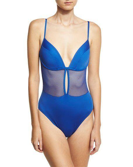 CARMEN MARC VALVO LINGERIE MESH V-NECK ONE-PIECE SWIMSUIT, BLUE. #carmenmarcvalvo #cloth #