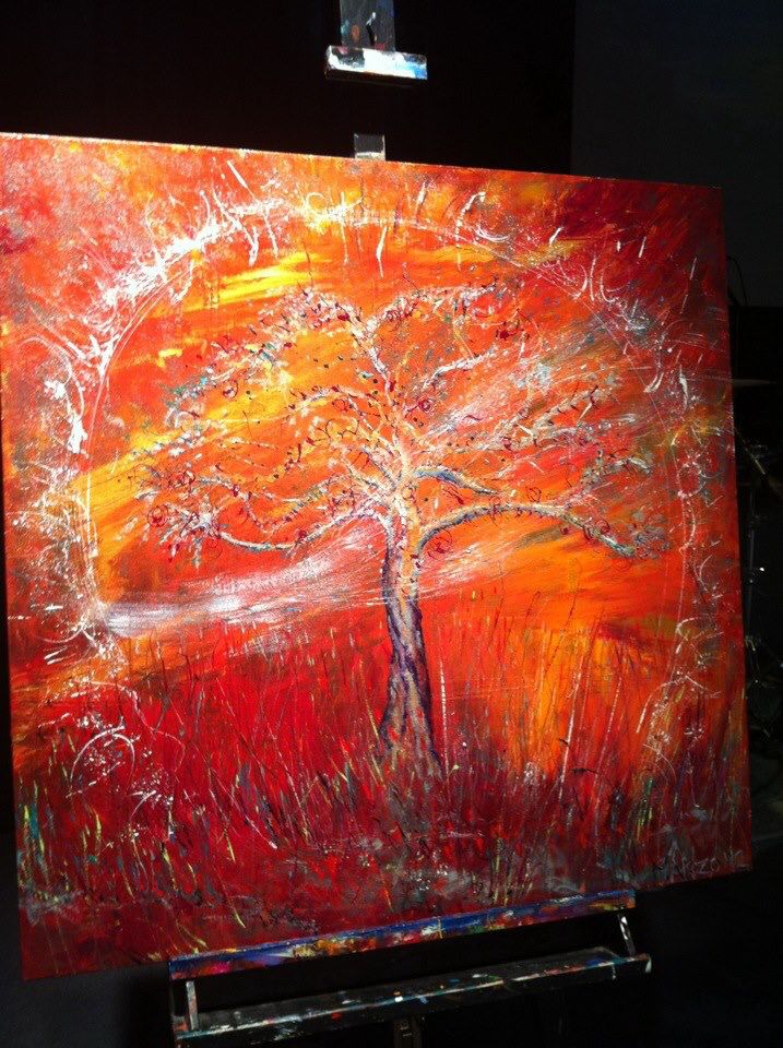 """""""The Healing Tree"""" Painted live in 30 mins worship at DaySpring Church, Sydney, Bill Johnson Conference 2012. #wendymanzo #propheticart #worshipart #liveart #speedpainting #billjohnson"""