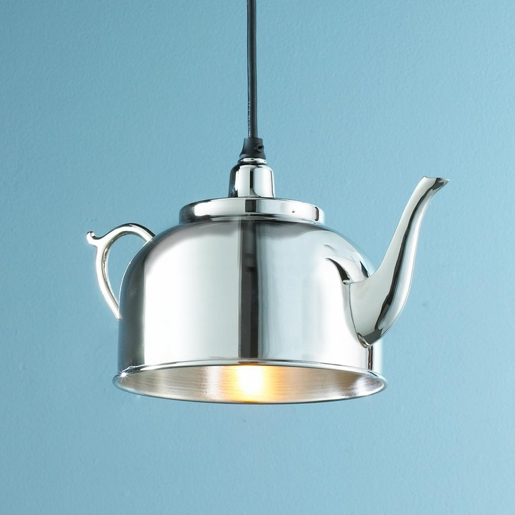Tea Kettle Pendant Light - reminds me of the lights made out of graters on That 70's Show. Very nifty