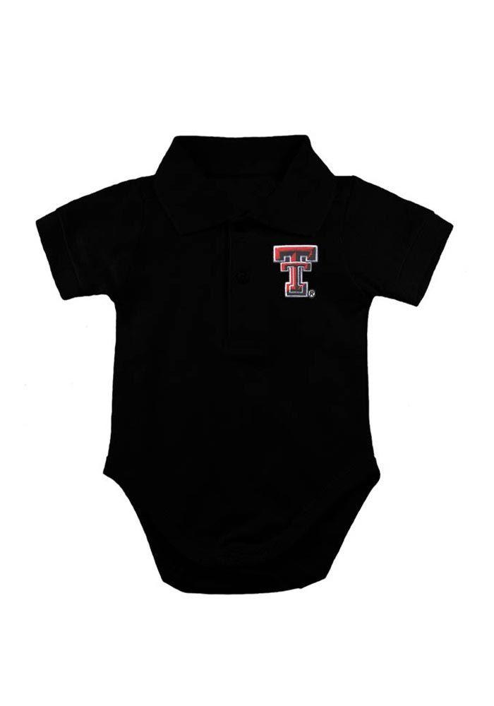 Texas Tech Red Raiders Baby Polo Creeper - Black Texas Tech Logo Polo Romper
