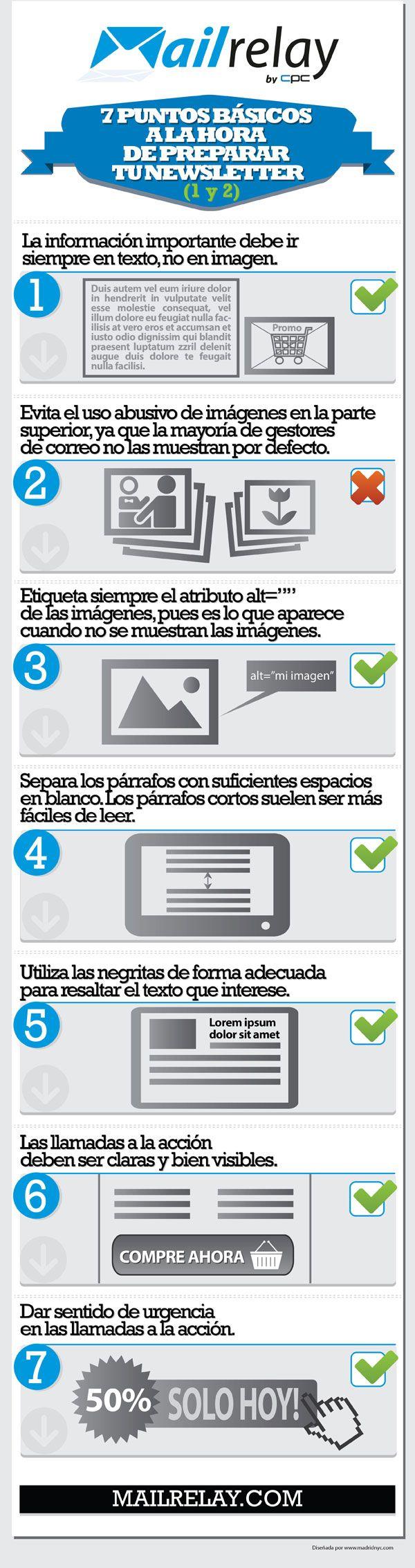7 puntos básicos para tu newsletter #infografia