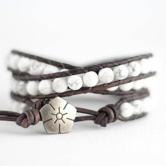 White howlite bead bracelet. Triple wrap boho chic armcandy
