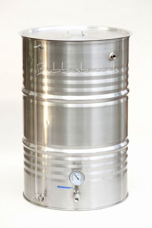 55 Gallon Stainless 4 Port Brew Kettle | Bubba's Barrels