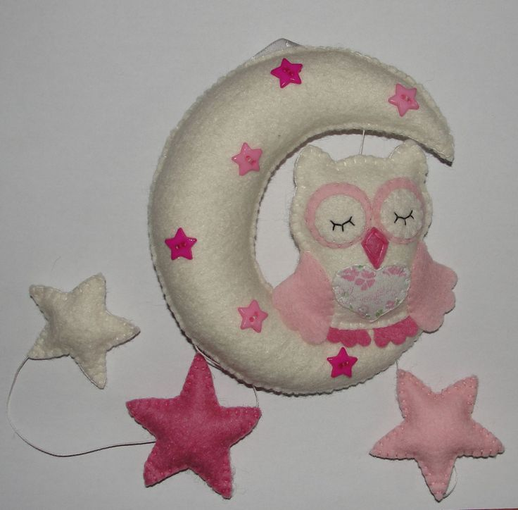 Sleepy Owl On The Moon Ornament, Hanging Baby Decor, Baby Crib Mobile, Wool Felt Owl Baby Mobile, Moon Mobile,Nursery Decor, Wall Decor by NitaFeltThings on Etsy