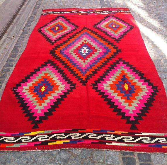 Modern Bohemian Kilim Rug, Vintage Kilim Rug, Decorative