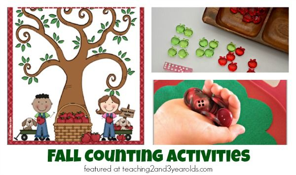 Strengthen counting skills with these fall counting activities that were collected from Teaching 2 and 3 Year Olds