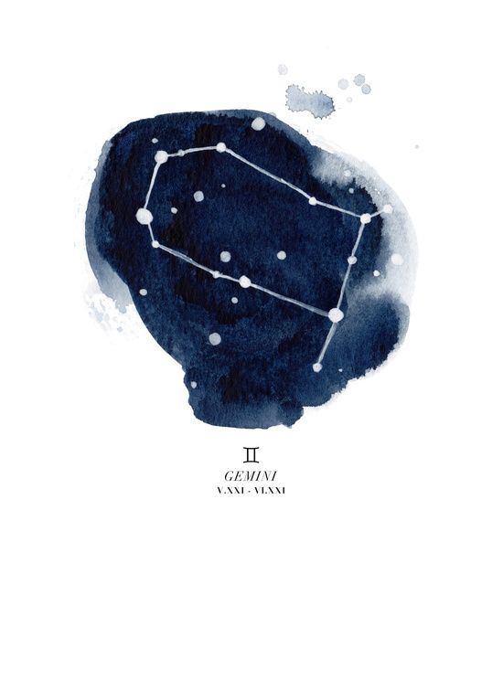 Zodiac Constellation Gemini Art Print The Littlest