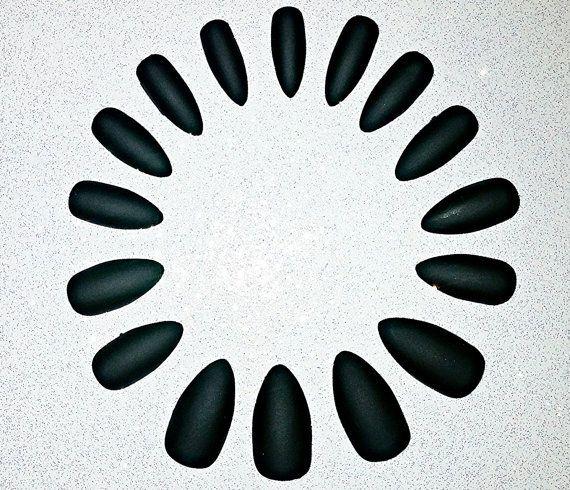 Black Matte Stiletto Nails Fake Nails Press on by NailsBySammi