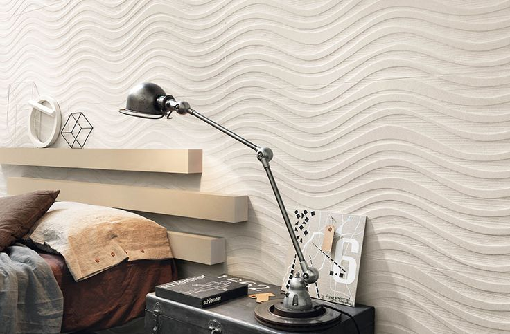 Cosy bedroom feature wall idea with wall tiles from Italgraniti Group's Sands Experience tile collection.