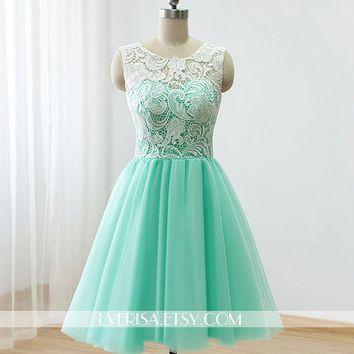 Custom Lace Tulle Bridesmaid dress Prom Dress Mint Green Dress Knee Short Dress