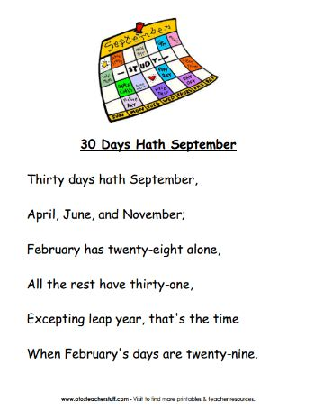 Free printable poem you can use for Leap Day or to remember the number of days in each month.