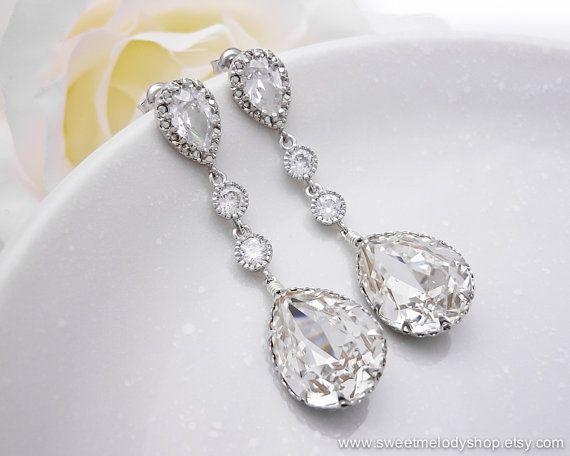 Oorbellen bruid bruiloft, Wedding Jewelry Bridal Earrings Bridesmaid door SweetMelodyShop, $38.80