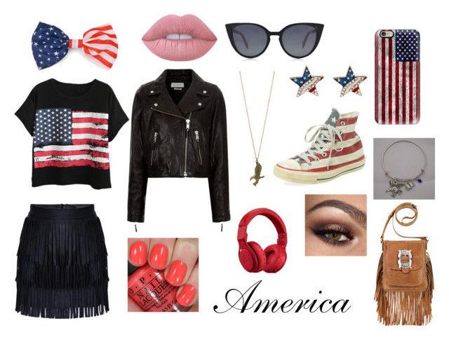 """America casual"" by valerie-solangelo on Polyvore featuring Chicnova Fashion, Étoile Isabel Marant, Converse, American West, Casetify, Beats by Dr. Dre, Lime Crime, OPI and Fendi"