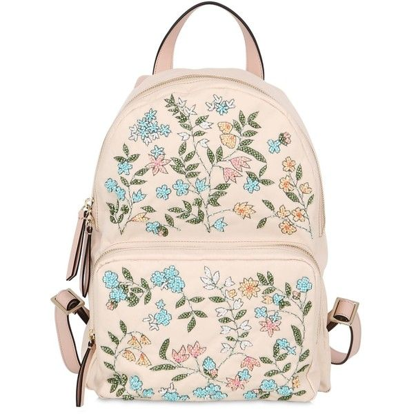 Red Valentino Women Flower Embellished Nylon Backpack found on Polyvore featuring bags, backpacks, backpack, light pink, zipper bag, embroidered bags, decorating bags, light pink backpacks and light pink bag