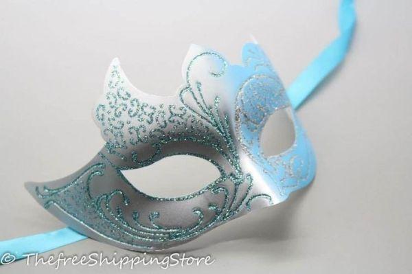 Elegant Masquerade Masks for Prom | ... Elegant Sexy Silver Blue Glitter Venetian Masquerade Mask | eBay