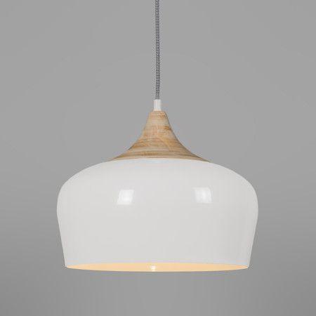 Hanglamp Pine Cremeweiss Edle Pendelleuchte Mit Weissem Schirm Aus Aluminium Kombiniert Raffinierten Details Holz Und Textilkabel