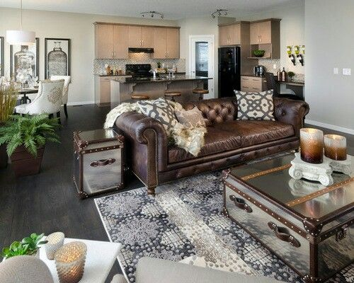 What goes with leather furniture  From Houzz  Nice juxtaposition of the leather  sofa with patterned pillows  patterned rug  and aluminum side table and. Best 25  Leather couch decorating ideas on Pinterest   Brown
