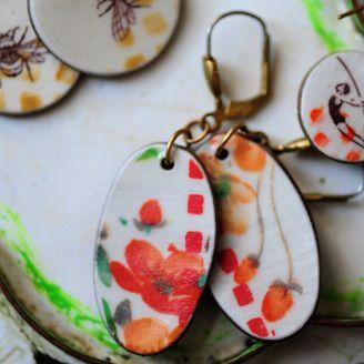 Porcelain earrings by Cathy Terepocki (Saskatoon, SK). Member of the Alberta Craft Council