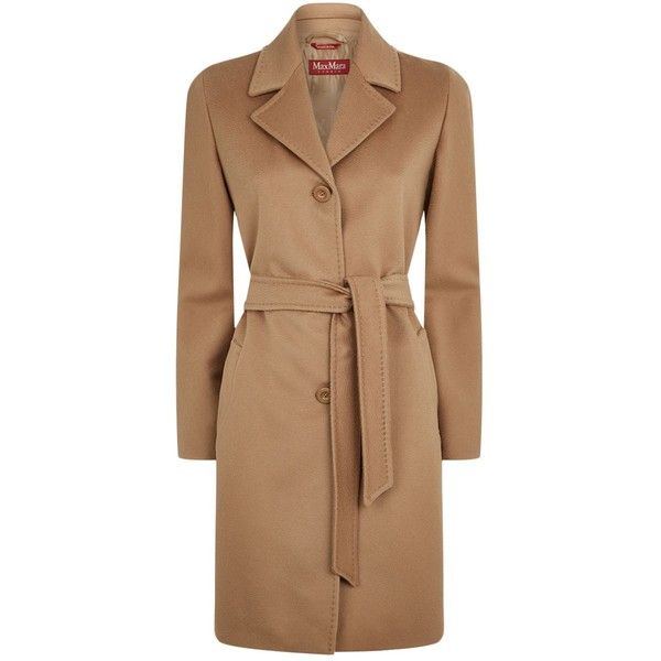 Max Mara Belted Wool Coat (5.980 NOK) ❤ liked on Polyvore featuring outerwear, coats, single breasted wool coat, camel coat, wool coat, maxmara coat and belted coat