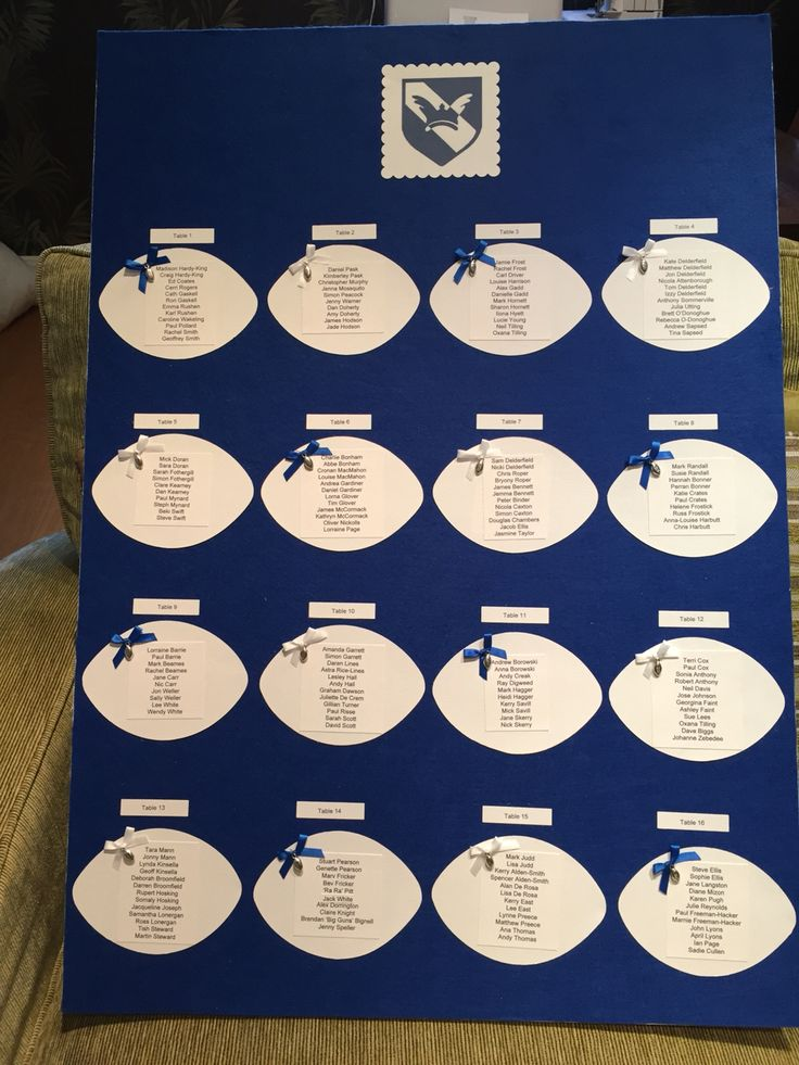 Rugby Ball table plan; background felt with matching alternate ribbons and bows