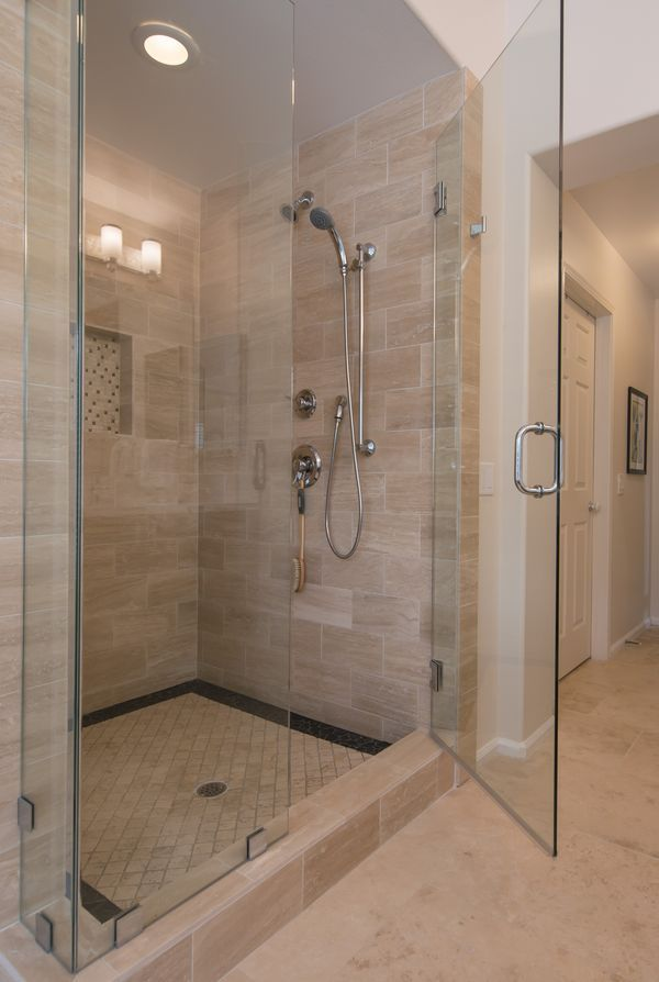 The rectangle tile is interesting. Would move the niche to the opposite side of the shower head. : tile door - Pezcame.Com