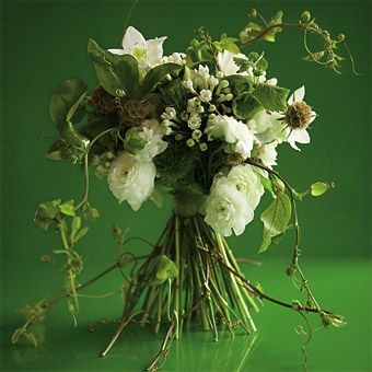 White and Green Wedding Bouquets - The white bouquet gets a makeover with an infusion of crisp greens - Wedding Flowers