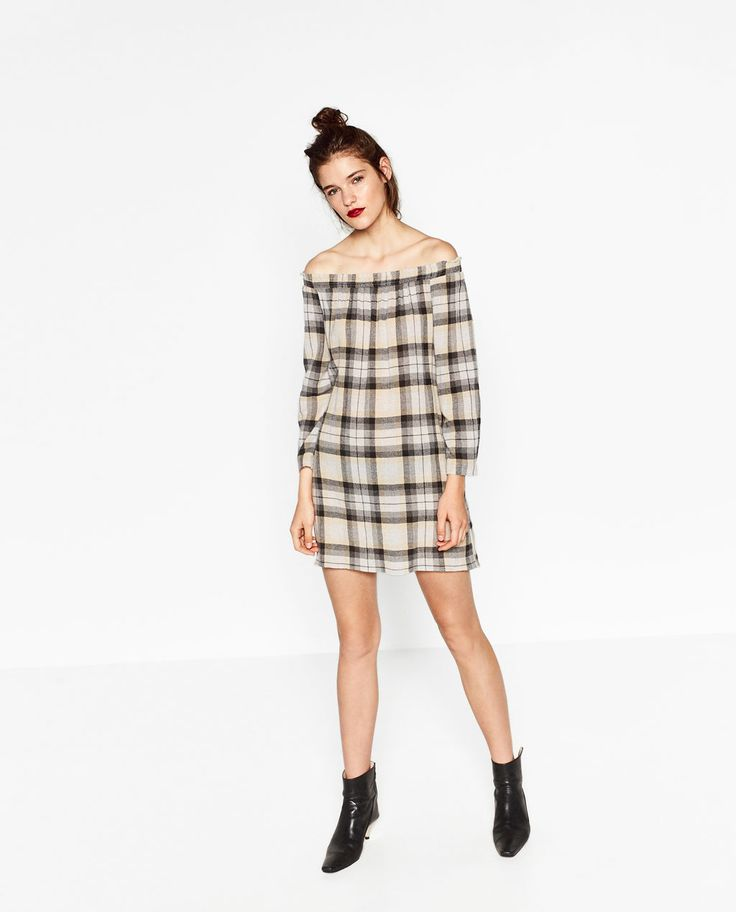 OFF-THE-SHOULDER CHECK DRESS-DRESSES-WOMAN | ZARA United States