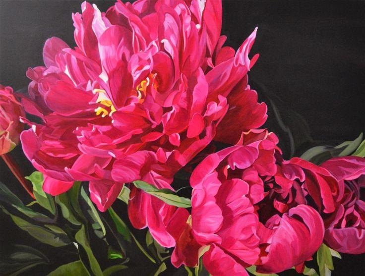 'Crimson Peonies' 120 x 90 cm Jenny Fusca Paintings