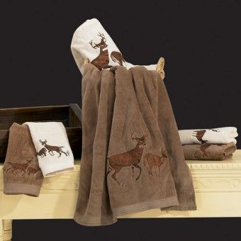 Deer Mountain Embroidered Towel Sets Cabin Decor Rustic