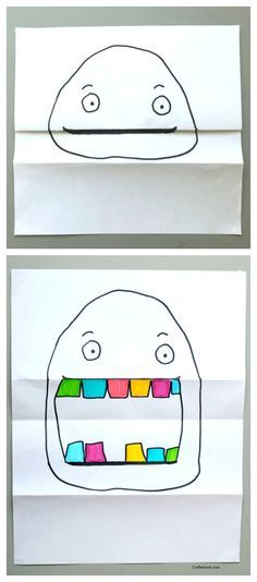pliage dessin, coloriage pliage, dessin maternelle, dessin visage, Folded paper project • Craftwhack.com