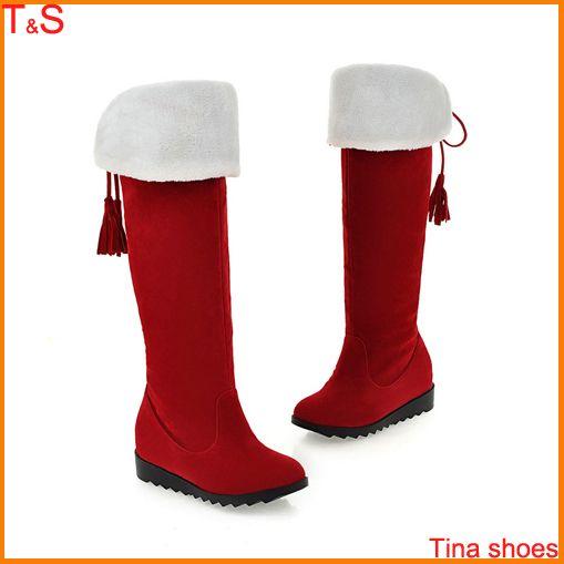 Зимние ботинки женщин платформы танкетка высокие сапоги ботинки на шнурках зимние сапоги черный красный сплошной размер 34 - 39