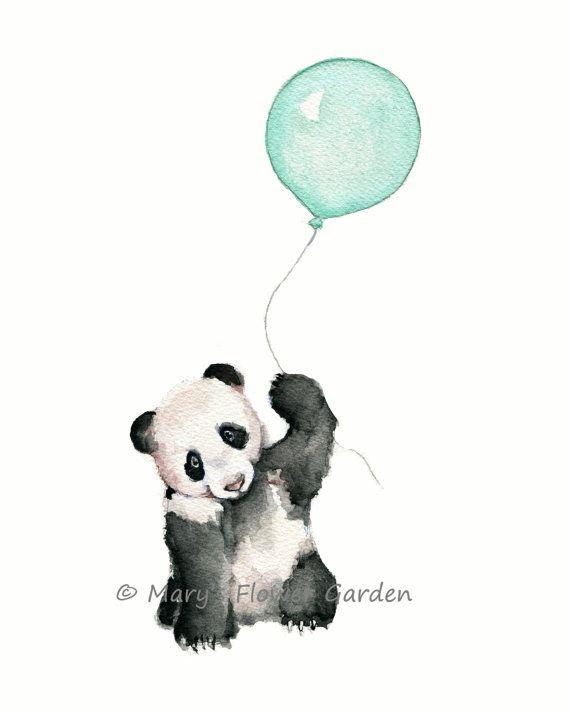 art nursery, mint nursery print, mint balloons, mint green wall art, mint baby shower, panda nursery print, panda bear illustration